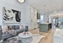 przytulny dom, salon i kuchnia w nowoczesnym stylu